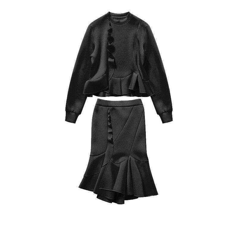 Jupe Deux Femmes Sweat Streetwear Mode 2018 Wang 2232 noir Rouge Ensembles Sirène Et Ww Volants Pièces Automne Costumes Whitney xwfRBzPq7