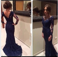 vestidos de renda Fashion Long Sleeves Mermaid Lace Prom Dress Navy Blue Evening Party Gowns Custom Made 2014