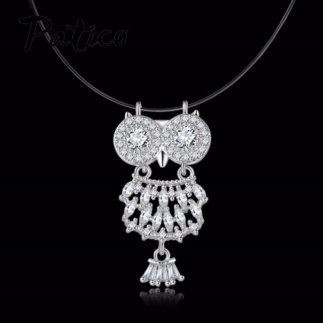 Aliexpress buy patico top quality 925 sterling silver owl patico top quality 925 sterling silver owl pendant necklace for women cz crystal hollow out mozeypictures Image collections