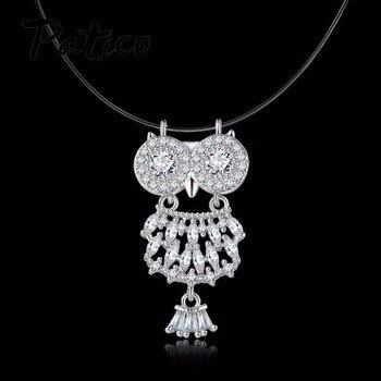 0f5f1e57a719 PATICO de calidad superior de plata esterlina 925 búho colgante de collar  para las mujeres de cristal de CZ hueco colgante collar de cadena fiesta  joyería
