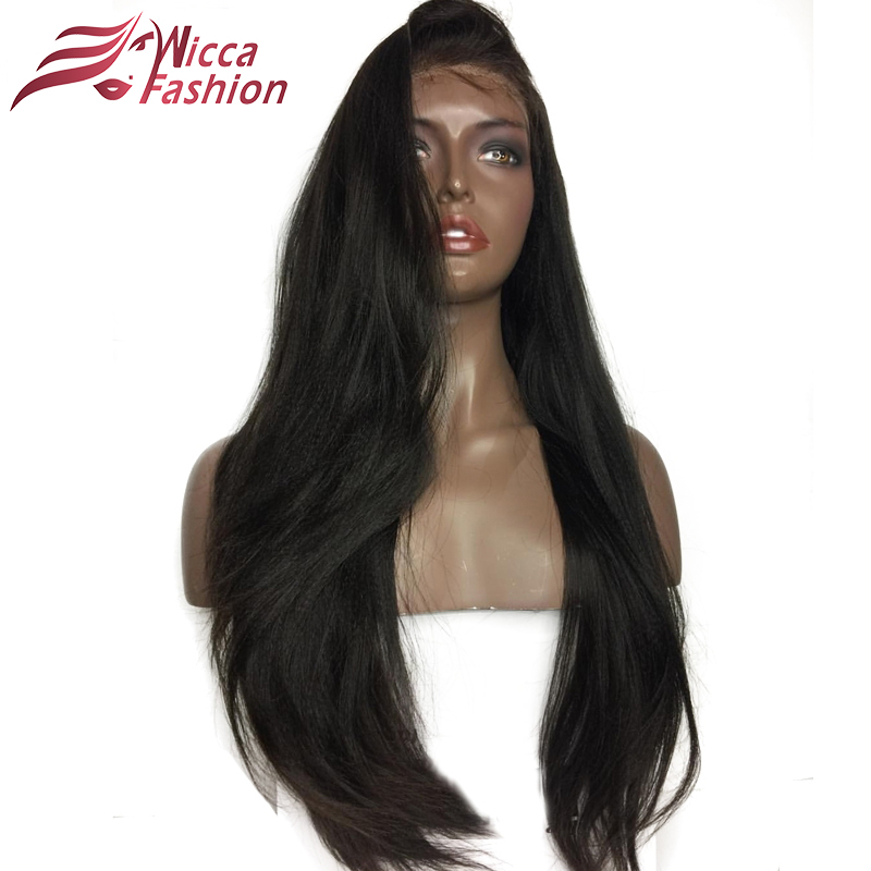 wicca fashion Yaki Straight Full Lace Wigs Brazilian Ponytail Wigs With Baby Hair 130% Density Non-Remy Hair