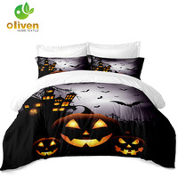 Halloween Trick Pumpkin Bedding Set Kids Cartoon Duvet Cover Set Festival Bedclothes 3D Bed Cover Pillowcase Home Decor D15