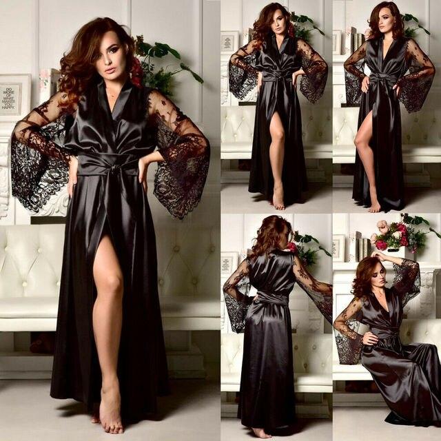 1e2ae0ee0e7a2 Сексуальное женское белье, атласное шелковое кружевное платье, женская  ночная рубашка ночнушки, ночное белье, пижамы