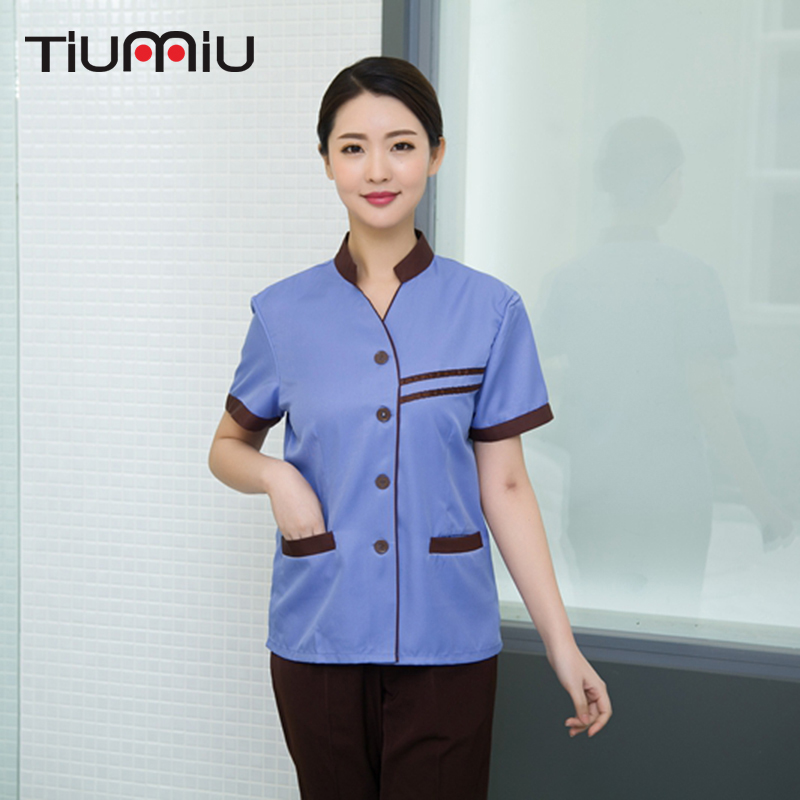 Summer Hotel Cleaning Tops Waiter Workwear Uniforms Double-Carry Cleaning Waiter Waitress Cleaning Jacket Housekeeping Women Men