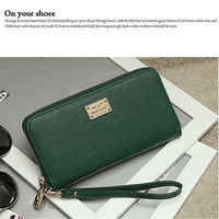 Women PU Leather Long Wallet PU Card Holder Hot Lady Clutch Purse Girl Zipper Black Pocket Clutches