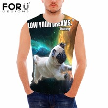 FORUDESIGNS 2018 Summer Novelty Galaxy Space Print Tank Top for Men Sleeveless Bodybuilding Shirt Cute Cat Designs Male Tank Top