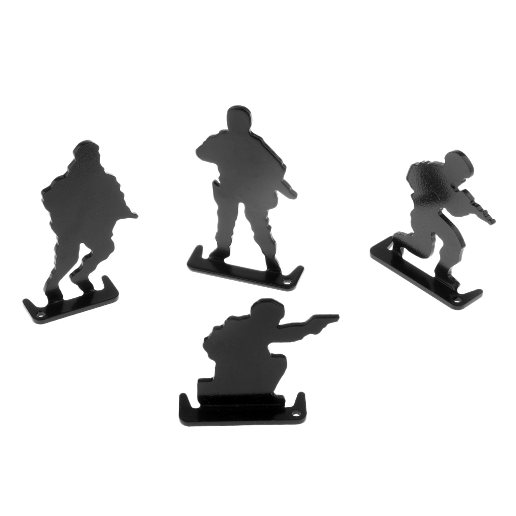 4 Pieces Metal Shooting Targets Soldiers Pattern Hunting Shooting Accessories Sturdy & Reusable For Practice Trainning