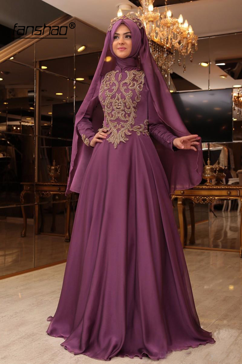 2019 Muslim Evening Dress Satin Appliques Beads Long Sleeves Scarf Vestidos De Festa Dubai Saudi Arabic Evening Gown Prom Dress