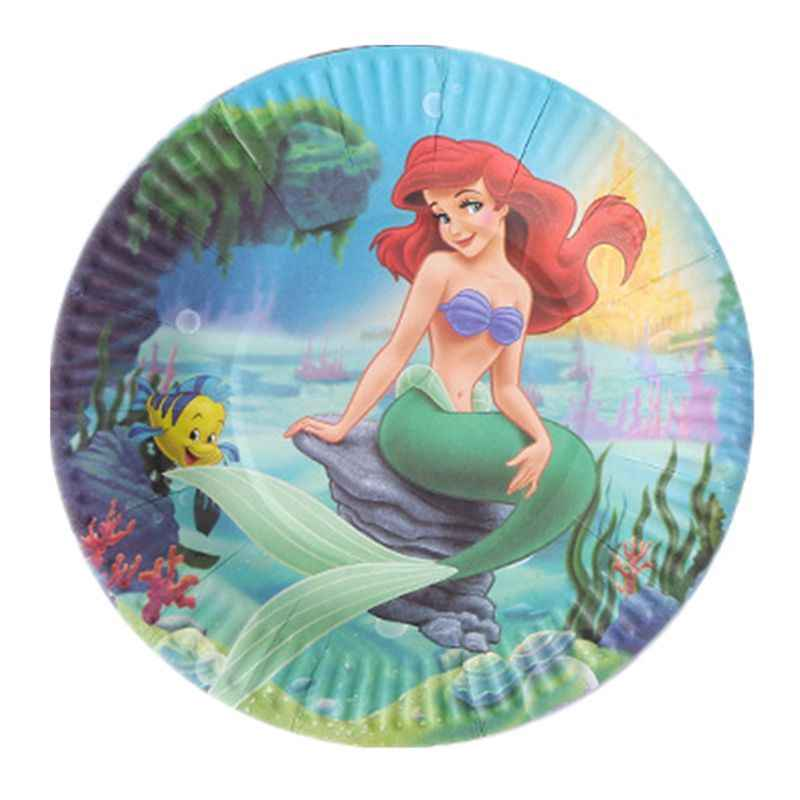 10pcs/bag Mermaid Birthday Party Decorations Plate Kids Mermaid Birthday Party Supplies Birthday Favors the little mermaid ariel
