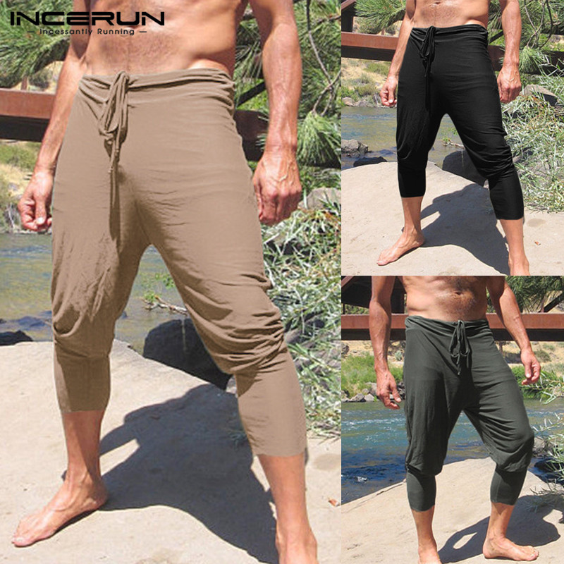 INCERUN 2019 Plus Size Men Casual Pants Solid Slim Fit Joggers Drawstring Straight Trousers Men Leisure Summer Pantalon Hombre