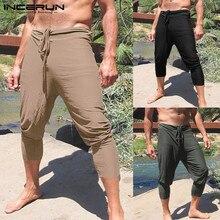 INCERUN, размера плюс, мужские однотонные брюки кэжуал, облегающие, для бега, на завязках, прямые брюки, мужские, для отдыха, летние, Pantalon Hombre