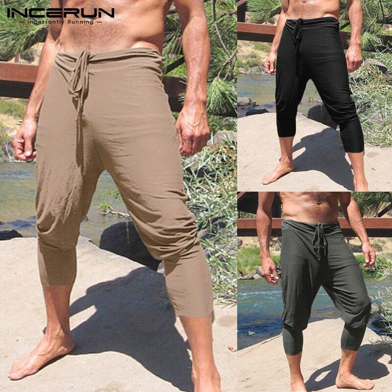 INCERUN 2019 Plus Size Men Casual Pants Solid Slim Fit Joggers Drawstring Straight Trousers Men Leisure Summer Pantalon Hombre