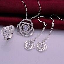 Silver plated noble luxury refined elegant flowers zircon prom Women suit three piece classic Burst models silver jewelry S751