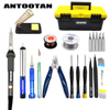 Electrical Soldering Iron Gray EU 220V 60W Adjustable Temperature Kit Welding Repair Tool Set With Tool