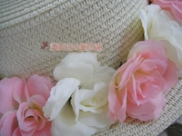 Princess sweet lolita Japanese Countryside Hawaii style pink and white colored roses Straw hat Formal hat MSG MZ025