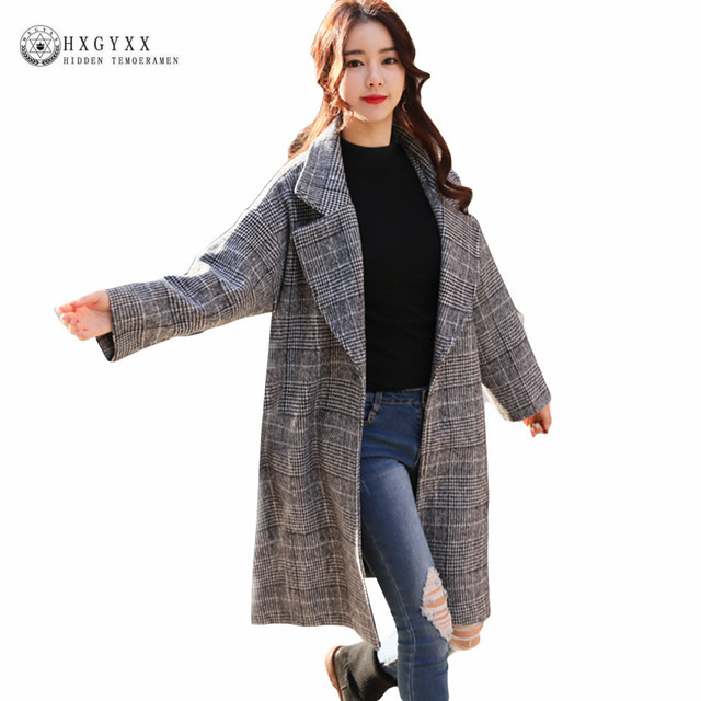 5fccdcb6bff Fashion Plus Size Winter Coat Women Long Wool Coats 2019 Quality Plaid  Woolen Jacket Poncho Winter