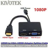 HDMI to Hdmi VGA Converter Adapter Cable HD1080P 1x2 Audio Video Splitter USB Power Connector For DVD PS34 HDTV PC Free Shipping