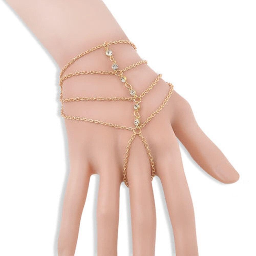 Punk Rock Multilayer Lady Tassel Bracelet Gold Color Fine Jewelry Finger Bracelet Hand Chain BL-0373