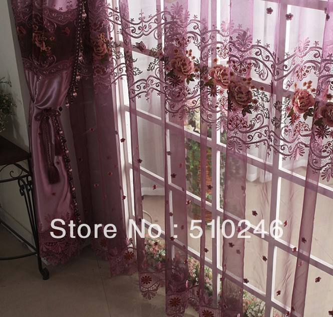 2013 new arrival customized modern flower embroidery purple home decoration window tulle sheer voile pleated day curtain