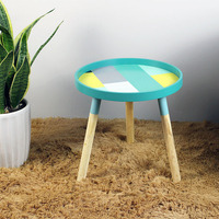 Nordic Geometric Fresh Mini Trays Coffee Table Shape Creative Wood Low Table Round Tables Home Furniture Home Decorations
