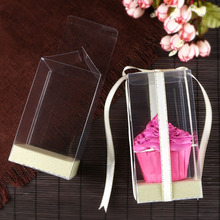 20 PCS New arrival 7*7*Hcm  Clear PVC Mother Day Gift box Cute Doll display Birthday&Wedding Cup Cake Packaging Box