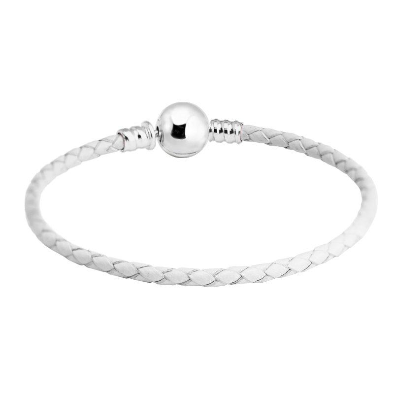 2c7ea9bb8 100% 925 Sterling Silver Ball Clasp Bracelet White Leather Bracelets for Women  Fit Charm Beads Diy Fine Jewelry PLE718-in Bracelets & Bangles from Jewelry  ...
