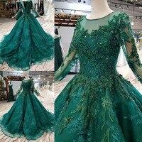 JaneVini роскошный темно зеленый Для женщин вечернее платье для выпускного вечера с одежда с длинным рукавом арабский блестками бальное платье