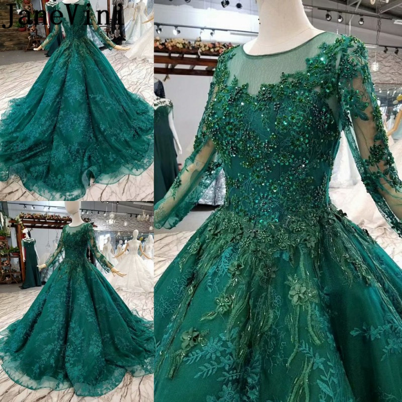 JaneVini Luxurious Dark Green Women Formal Prom Dress With Long Sleeves Arabic Sequined Ball Gown Lace Long Bridesmaid Dresses