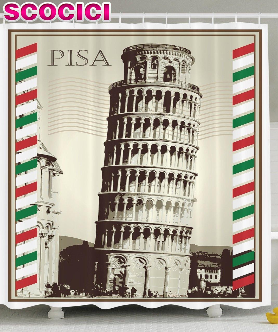 famoso italia bandera italiana de la torre inclinada de pisa vendimia caligrfica postal postal del bao