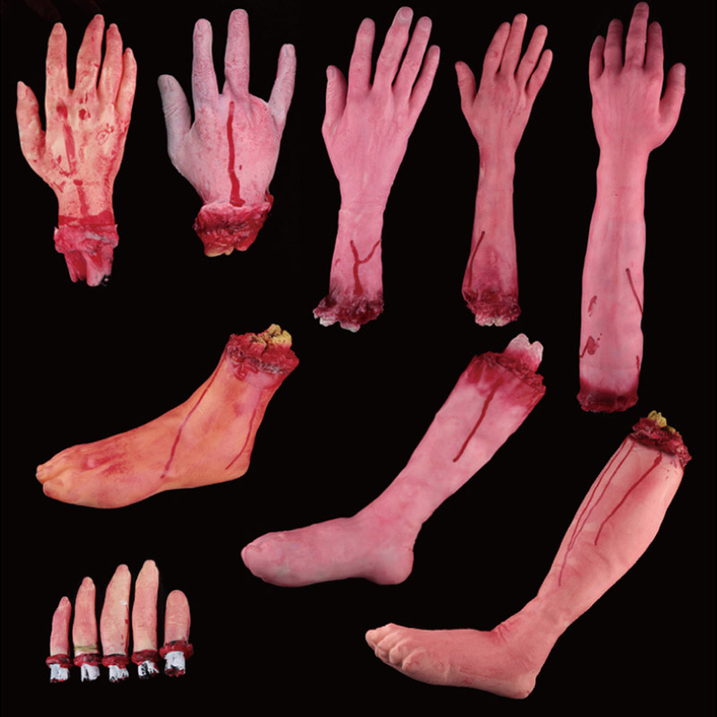 Horror Trick Toy Scary Prop Latex Stump Bloody Cut Hand Feet Bone Halloween Gift Practical Joke Rubber Artificial Funny M09