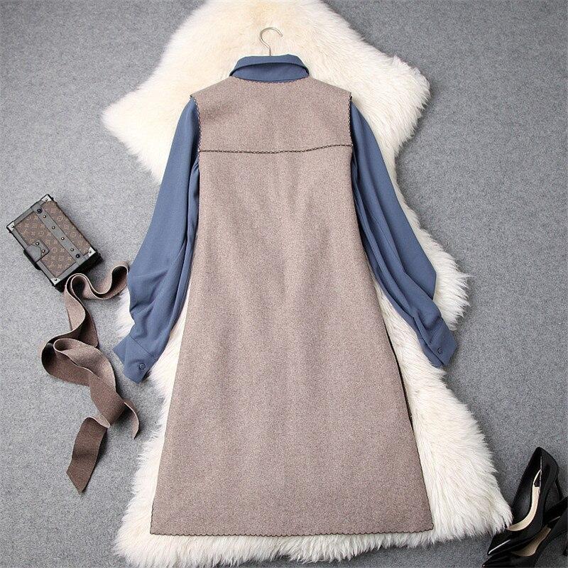 Manches À Réservoir Femmes Irrégulière Plein Ensemble Robe Col 2 D'hiver Bleu Mode Laine 2018 Pièces Créateurs Chemise De Féminine Revers Robes n0OSwpxqP