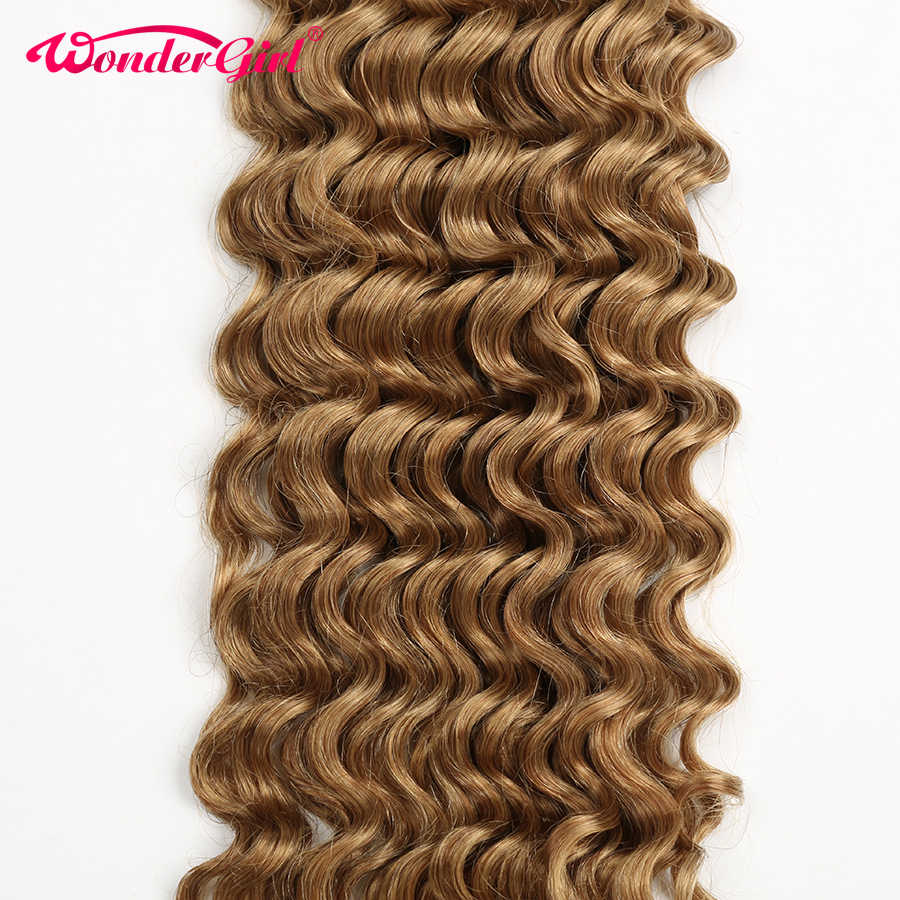 Wonder girl #27 Honey Blonde Brazilian Deep Wave Bundles 100% Remy Human Hair Bundles 3/4 Bundle Deals No Tangle No Shedding