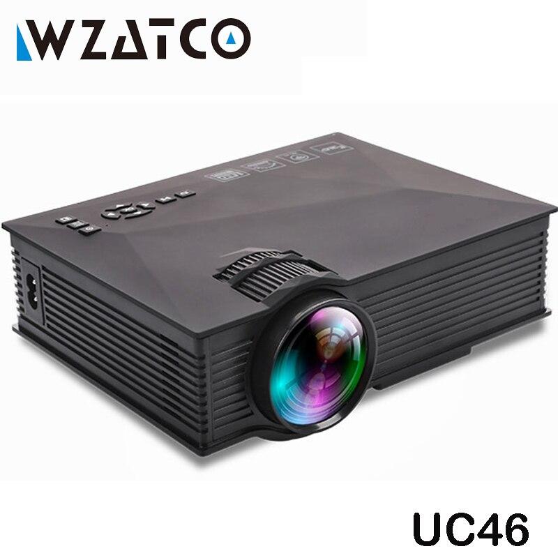 WZATCO UC46 Wifi Drahtlose Spiegel Miracast 1200 Lumen HD Digital Multimedia LED Mini Tasche Projektor Proyector Projetor Beamer