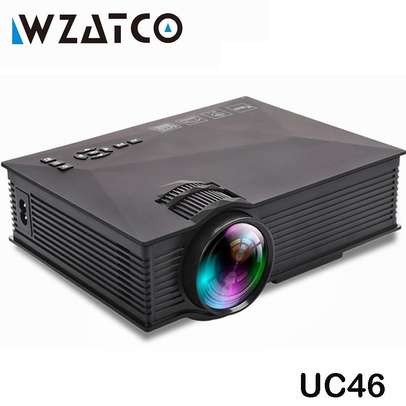WZATCO UC46 Wifi Sans Fil Miroir Miracast 1200 Lumen HD Numérique Multimédia LED Mini Projecteur De Poche Proyector Projetor Beamer