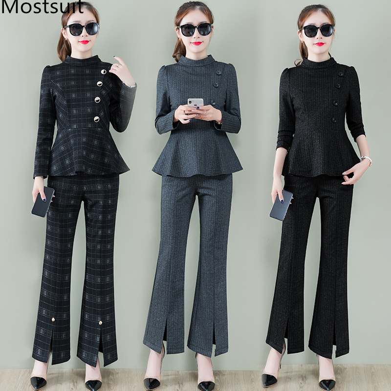 Office 2 Piece Set Women Long Sleeve Tunic Tops And Flare Pants Trousers Sets Spring Autumn Ladies Two Piece Women's Sets Mujer 37