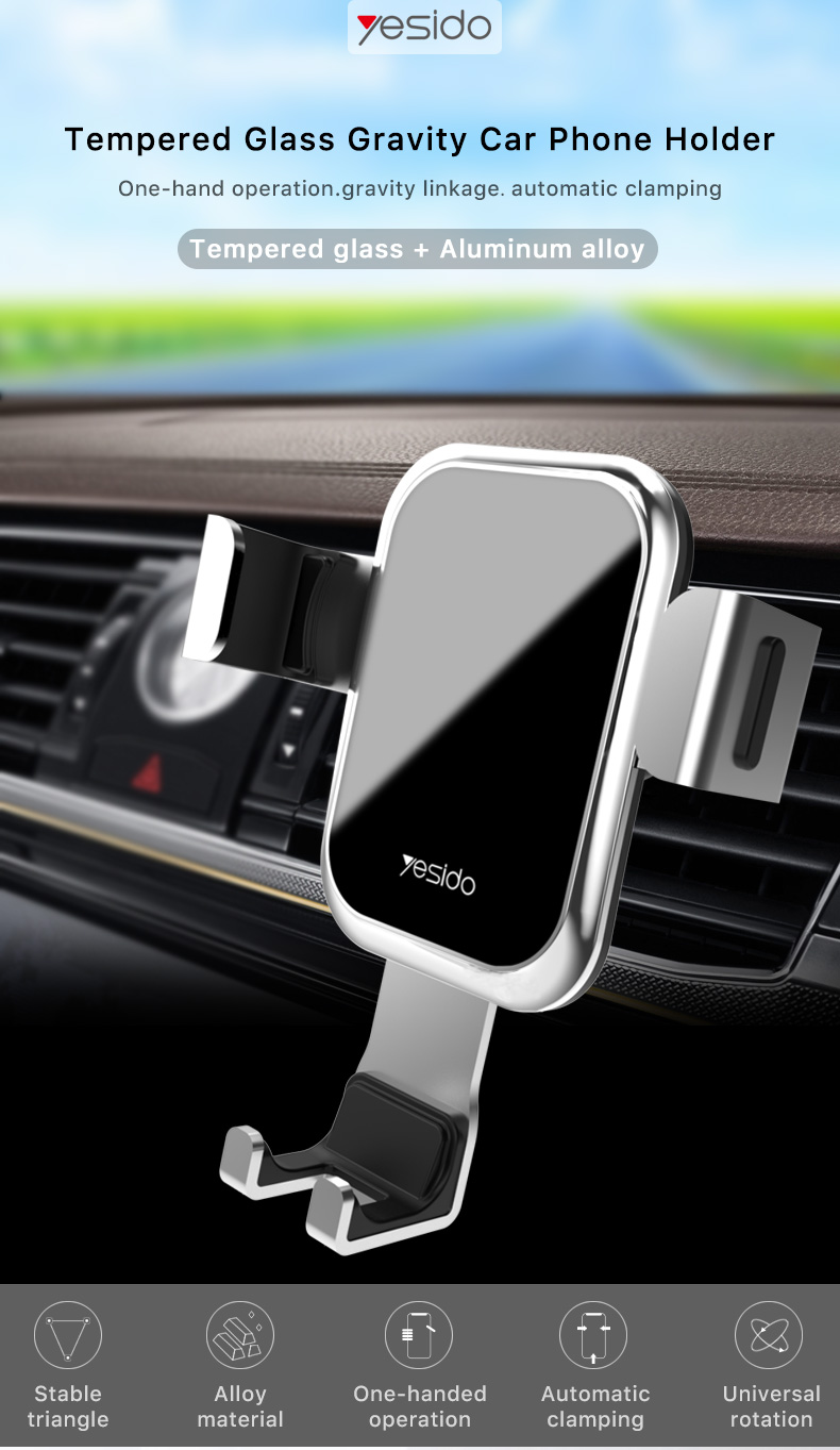 Tempered Glass Gravity Car Phone Holder Air Vent Car Mount Holder (1)