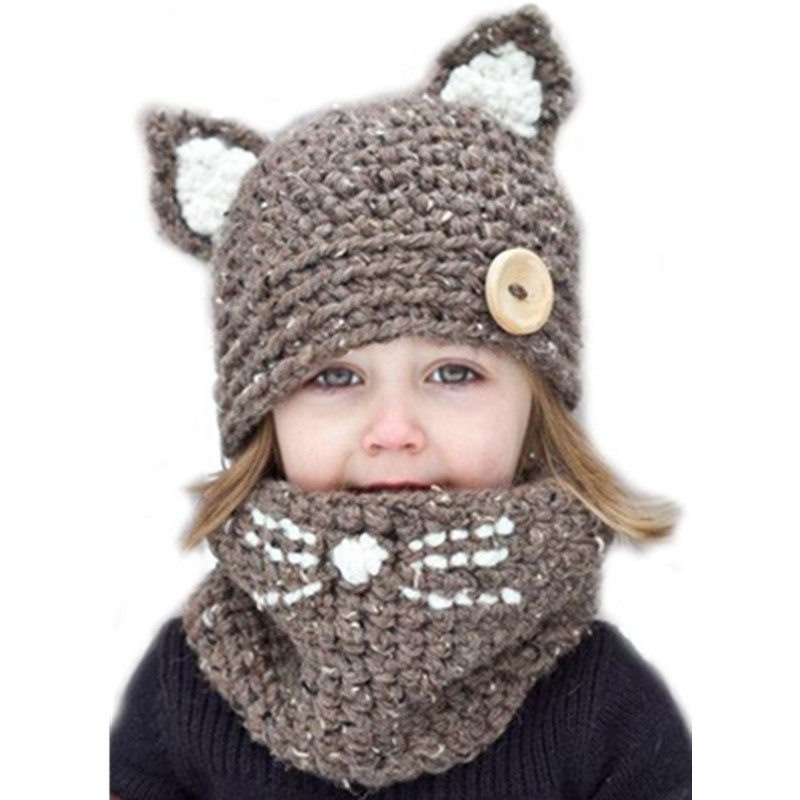 Hot Sale Cat Ear Kids Boys Knitted Hats Winter 2 Pcs Fur Baby Girl Scarf Hat Set Age For 2-8 Years Christmas Gifts