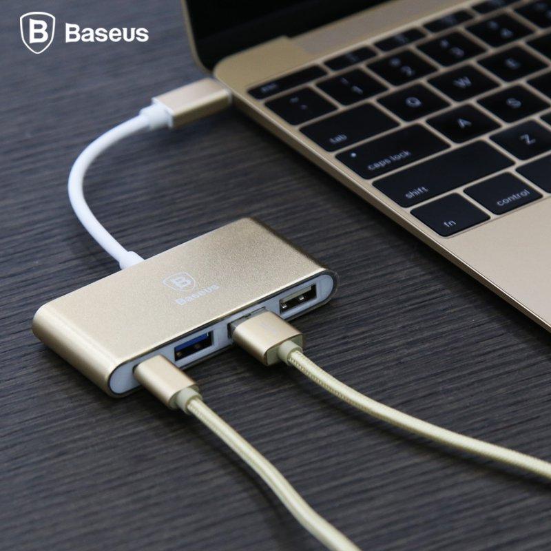 Prix pour BASEUS Marque Type C à Type-C + 3 HUB USB 3.0/2.0 Convertisseur Adaptateur Pour Retina Macbook/Lenovo ZUK Z1/Pixel C/Nokia N1