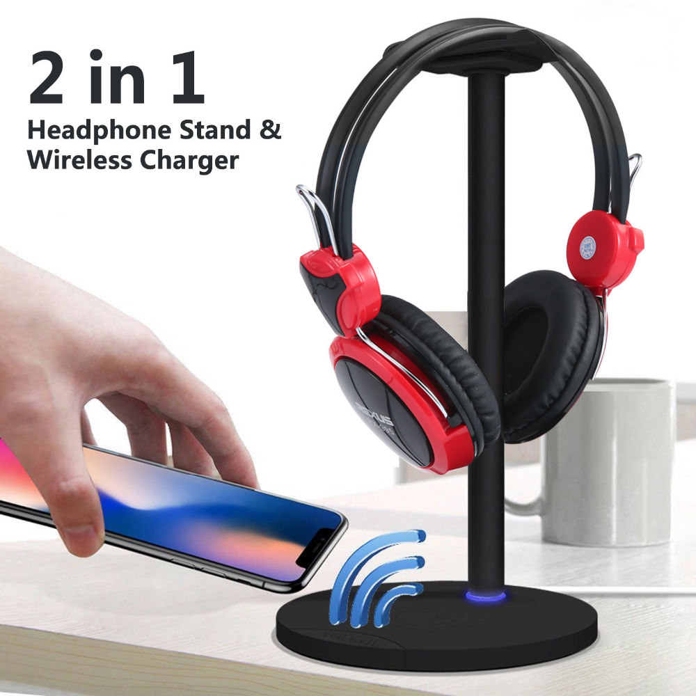 2 in 1 Holder and QI Charger for Headset Earphone Stand Display Hanger QI Wireless Charging Headphone Stand for iPhone Samsung
