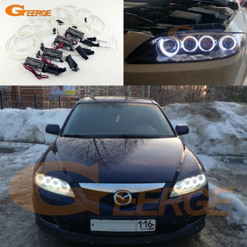 For Mazda6 Mazda Mazdaspeed 6 MS6 2002-2008 Excellent 8pcs Angel Eyes Halo Ring Ultrabright illumination CCFL Angel Eyes kit for mazda rx8 rx 8 2004 2008 excellent led angel eyes ultrabright illumination smd led angel eyes halo ring kit