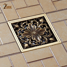 ZGRK Floor Drains Square 10cm Shower Drain Brass Trap Waste Grate With Hair Strainer Bathroom Accessories