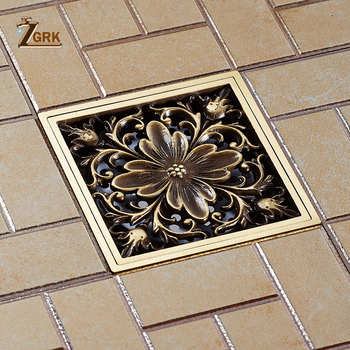 ZGRK Floor Drains Square 10cm Shower Drain Brass Floor Drain Trap Waste Grate With Hair Strainer Bathroom Shower Accessories 24 long floor drain stainless steel bathroom shower square floor waste grate sanitary pop up drain
