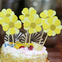 New 1pc/set cake insert dress up flash gold decoration arrangement party wedding holiday yellow petal cake supplies(China)