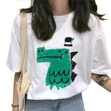 b1ed8b6498c84 2019 Летняя женская Милая футболка с короткими рукавами и принтом  динозавра, женская рубашка с круглым