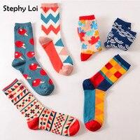 Colour crew cotton happy socks men/women british style casual harajuku designer brand fashion novelty art for couple funny Socks