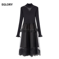 High Quality Sweater Dress 2019 Spring Fashion Vestido Women Stand Neck Sexy Sheer Mesh Lace Patchwork Long Sleeve Knitted Dress