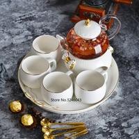 Household Japanese Fruit Teapot Set Nordic Creative Phnom Penh Ceramic Plate Glass Flower Teapot Candle Heating Base