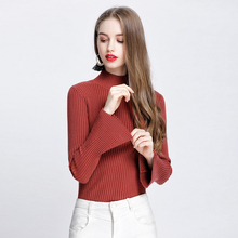 Autumn Winter New Women Long Sleeve Pullovers Sweaters Bell Sleeve Knitted Sweater Elasticity Casual Jumper Fashion Slim Turtl bell sleeve jumper