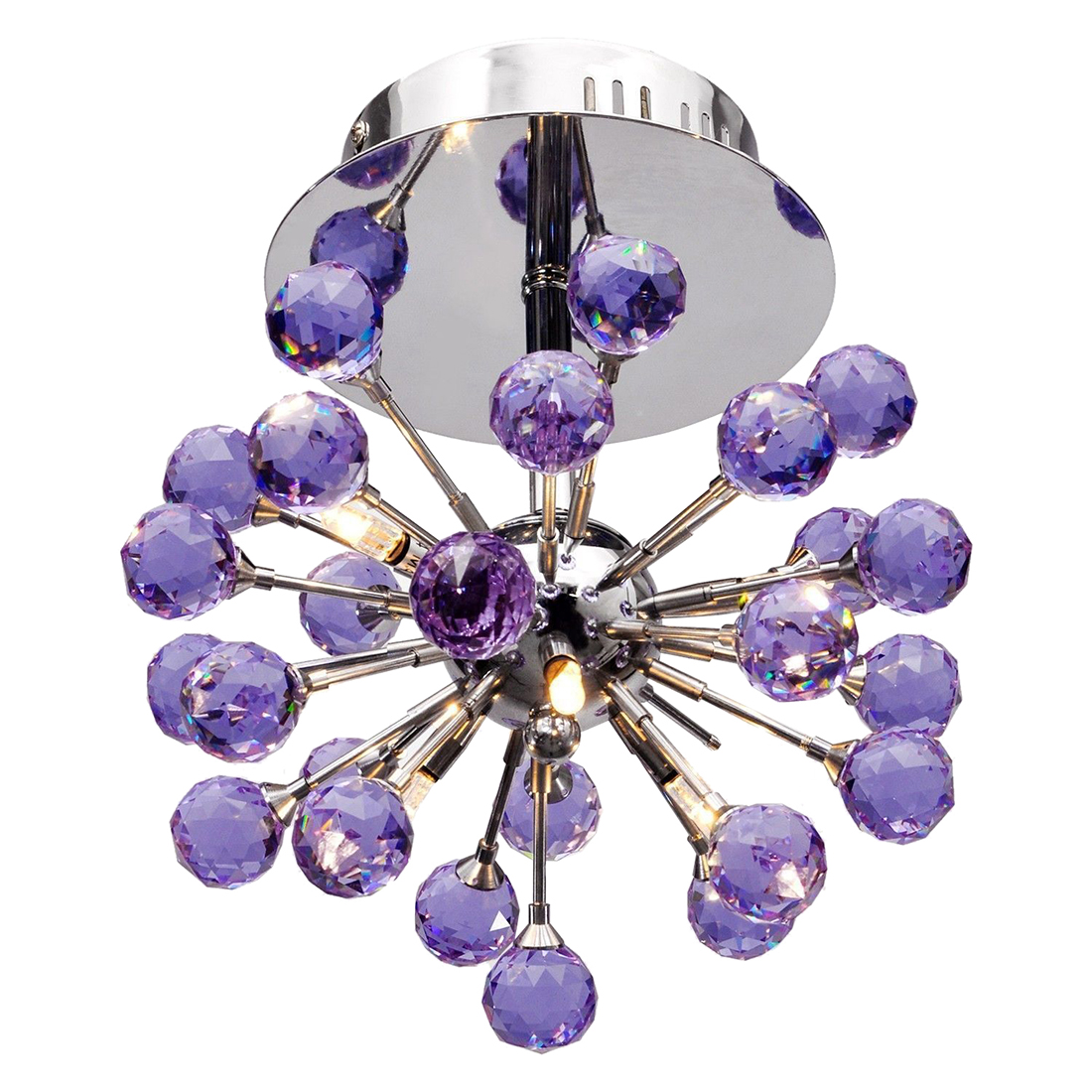 Elegant Flush Mount Crystal Chandelier Ceiling Pendant Lamp Fixture light Purple