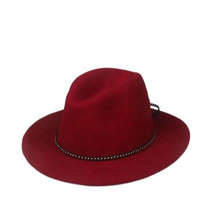 6 шт./лот новые модные женские туфли Для мужчин шерсть autunm зима фетровая шляпа Фетр Панама женская флоппи Дерби шляпа Кепки Головные уборы - Цвет: Wine RED